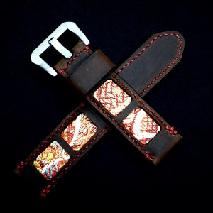47Ronin#320 Mocha brown calf leather (22mm, Red stitching)