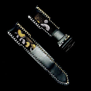 47Ronin#323 Black calf leather (22mm, White & Beige stitching)