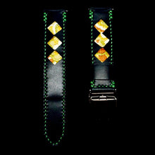 Load image into Gallery viewer, 47Ronin#322 Black calf leather (20mm, Green stitching)
