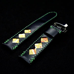47Ronin#322 Black calf leather (20mm, Green stitching)