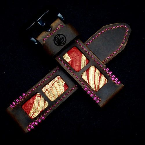 47Ronin#321 Mocha brown calf leather (26mm, Pink stitching)