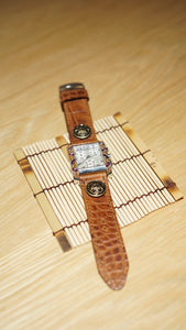 47Ronin#092 Dark brown calf leather with Crocodile print watch strap with Japanese school uniform button (22mm, black stitches)
