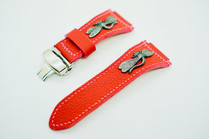 47Ronin#135 Rose red calf leather (24mm, Pink stitching)
