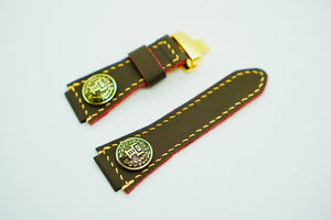 47Ronin#127 Chocolate brown calf leather (24mm, Beige stitching)