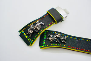 47Ronin#136 Black calf leather (24mm, Multi-coloured stitching)