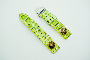 47Ronin#131 Lawn green snake embossed calf leather (20mm, Yellow stitching)