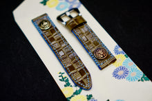 Load image into Gallery viewer, 47Ronin#132 Tortilla brown croc embossed calf leather (22mm, Sky blue stitching)