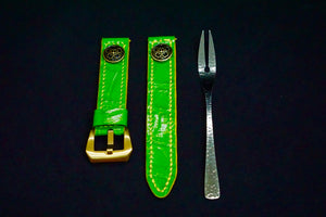 47Ronin#129 Lime green croc embossed calf leather (20mm, Yellow stitching)