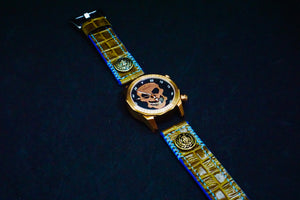 47Ronin#132 Tortilla brown croc embossed calf leather (22mm, Sky blue stitching)