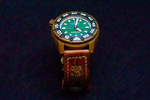 47Ronin#149 Dark brown croc embossed calf leather (22mm, Green stitching)