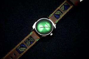 SIXOFOUR Series One - Stanley Park Green with 47Ronin#317 Mocha brown calf leather (22mm, Green stitching)