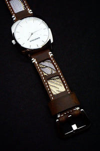 SIXOFOUR Series One - Pacific Pearl with 47Ronin#314 Mocha brown calf leather (22mm, White stitching)