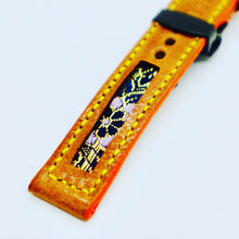 Load image into Gallery viewer, 47Ronin#108 Bronze brown calf leather with Japanese kimono fabric (18mm, yellow stitches)