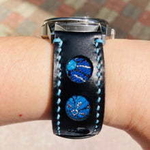 Load image into Gallery viewer, 47Ronin#219 Black calf leather (20mm, Sky blue stitching)