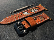 Load image into Gallery viewer, 47Ronin#013 Leather watch strap with Kimono fabric (22mm, Brown leather, White, black, gold, red & blue fabric, Blue thread)
