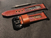 Load image into Gallery viewer, 47Ronin#012 Leather watch strap with Kimono fabric (20mm, Brown leather, Black & gold fabric, Purple thread)