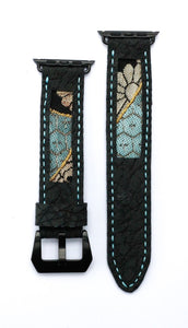 47Ronin#15 Leather watch strap with Kimono fabric (22mm, Dark grey leather with special print, Black, gold & blue Kimono fabric, Blue stitches