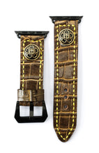 Load image into Gallery viewer, 47Ronin#11 Leather watch strap with crocodile print and junior high school uniform button (22mm, Brown leather, Brass button, Yellow thread)