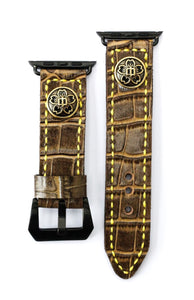 47Ronin#11 Leather watch strap with crocodile print and junior high school uniform button (22mm, Brown leather, Brass button, Yellow thread)