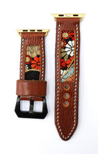 Load image into Gallery viewer, 47Ronin#13 Leather watch strap with Kimono fabric (22mm, Brown leather, White, black, gold, red & blue fabric, Blue thread)
