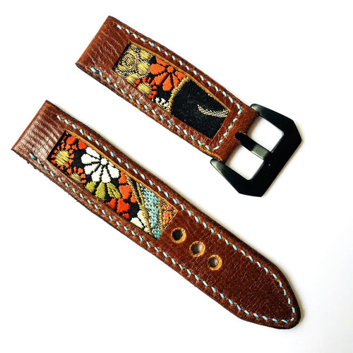 47Ronin#013 Leather watch strap with Kimono fabric (22mm, Brown leather, White, black, gold, red & blue fabric, Blue thread)