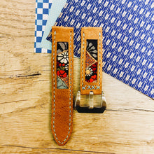 Load image into Gallery viewer, 47Ronin#020 Leather watch strap with Kimono fabric (22mm, light brown leather, Black, gold, red & blue Kimono fabric, Blue stitches
