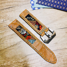 Load image into Gallery viewer, 47Ronin#20 Leather watch strap with Kimono fabric (22mm, light brown leather, Black, gold, red & blue Kimono fabric, Blue stitches