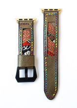Load image into Gallery viewer, 47Ronin#018 Leather watch strap with Kimono fabric (20mm, leather with golden coating, Black, gold, red Kimono fabric, Rainbow stitches