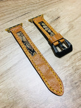 Load image into Gallery viewer, 47Ronin#22 Leather watch strap with Kimono fabric (20mm, Yellow stitches)