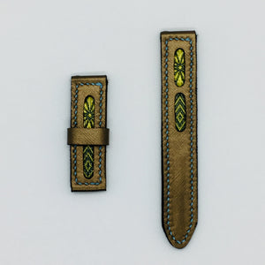 47Ronin#041 Golden calf leather watch strap with Blue & gold Tatamiberi from Japan (20mm, blue stitches)