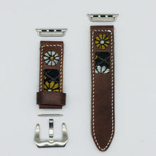 Load image into Gallery viewer, 47Ronin#043 Brown calf leather watch strap with Chrysanthemum Tatamiberi from Japan (22mm, white stitches)