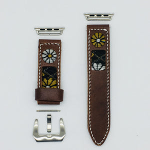 47Ronin#043 Brown calf leather watch strap with Chrysanthemum Tatamiberi from Japan (22mm, white stitches)