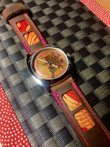 Custom Samurai Watch & Strap combo with 47Ronin#321 Mocha brown calf leather (26mm, Pink stitching)