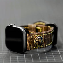 Load image into Gallery viewer, 47Ronin#011 Leather watch strap with crocodile print and junior high school uniform button (22mm, Brown leather, Brass button, Yellow thread)