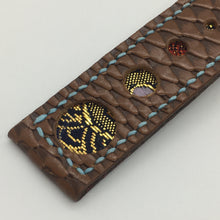 Load image into Gallery viewer, 47Ronin#063 Chocolate brown calf leather with reptile print watch strap, Japanese kimono fabric (21mm, blue stitches)