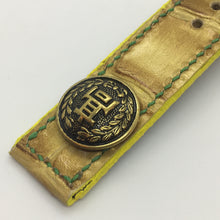 Load image into Gallery viewer, 47Ronin#064 Golden yellow calf leather watch strap with Japanese school uniform button (21mm, green stitches)