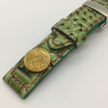Load image into Gallery viewer, 47Ronin#066 Bright green calf leather watch strap with Former Japan National Railways Company uniform button (21mm, red stitches)