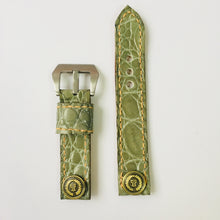 Load image into Gallery viewer, 47Ronin#009 Crocodile skin watch strap with high school uniform button (20mm, Green crocodile skin, Brass button, Orange thread)