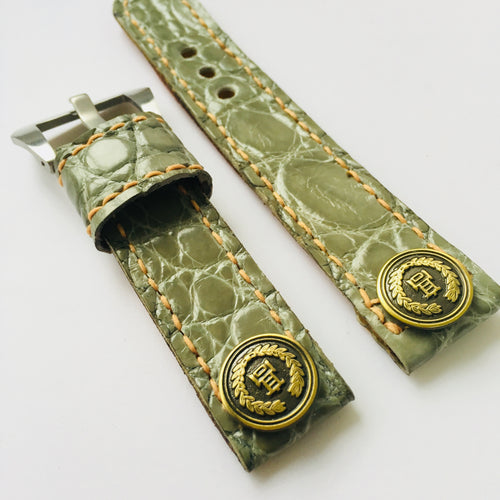 47Ronin#009 Crocodile skin watch strap with high school uniform button (20mm, Green crocodile skin, Brass button, Orange thread)