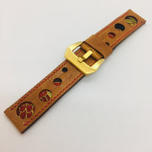 Load image into Gallery viewer, 47Ronin#071 Bronze brown calf leather watch strap with Red & Gold Japanese kimono fabric (22mm, red stitches)