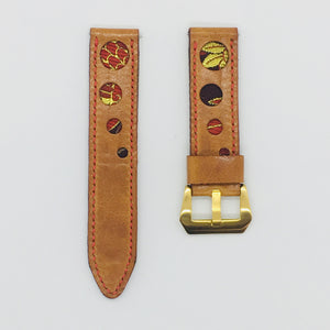 47Ronin#071 Bronze brown calf leather watch strap with Red & Gold Japanese kimono fabric (22mm, red stitches)