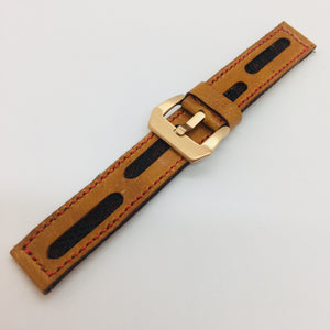 47Ronin#072 Bronze brown calf leather watch strap with Merlot Red Tatamiberi from Japan (22mm, red stitches)