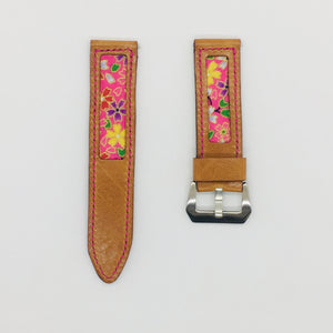 47Ronin#073 Bronze brown calf leather watch strap with Rose Pink Japanese print fabric (24mm, pink stitches)