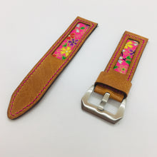 Load image into Gallery viewer, 47Ronin#073 Bronze brown calf leather watch strap with Rose Pink Japanese print fabric (24mm, pink stitches)