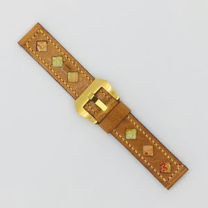 47Ronin#074 Bronze brown calf leather watch strap with Peach & White Japanese print fabric (20mm, Peach stitches)