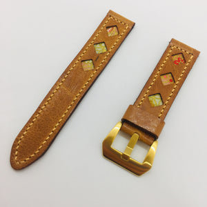 47Ronin#074 Bronze brown calf leather (20mm, Peach stitches)