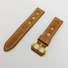 Load image into Gallery viewer, 47Ronin#074 Bronze brown calf leather watch strap with Peach & White Japanese print fabric (20mm, Peach stitches)