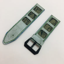 Load image into Gallery viewer, 47Ronin#075 Tiffany blue calf leather watch strap with Emerald Green Tatamiberi from Japan (26mm, Green stitches)