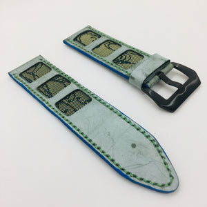 47Ronin#075 Tiffany blue calf leather watch strap with Emerald Green Tatamiberi from Japan (26mm, Green stitches)