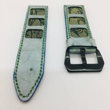 Load image into Gallery viewer, 47Ronin#075 Tiffany blue calf leather (26mm, Green stitches)